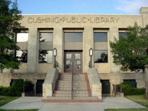 Cushing Public Library building front